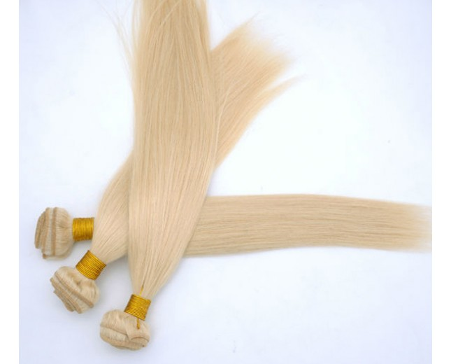 Straight Bleached Blonde Hair Extension Tangle Free Accept Customizing